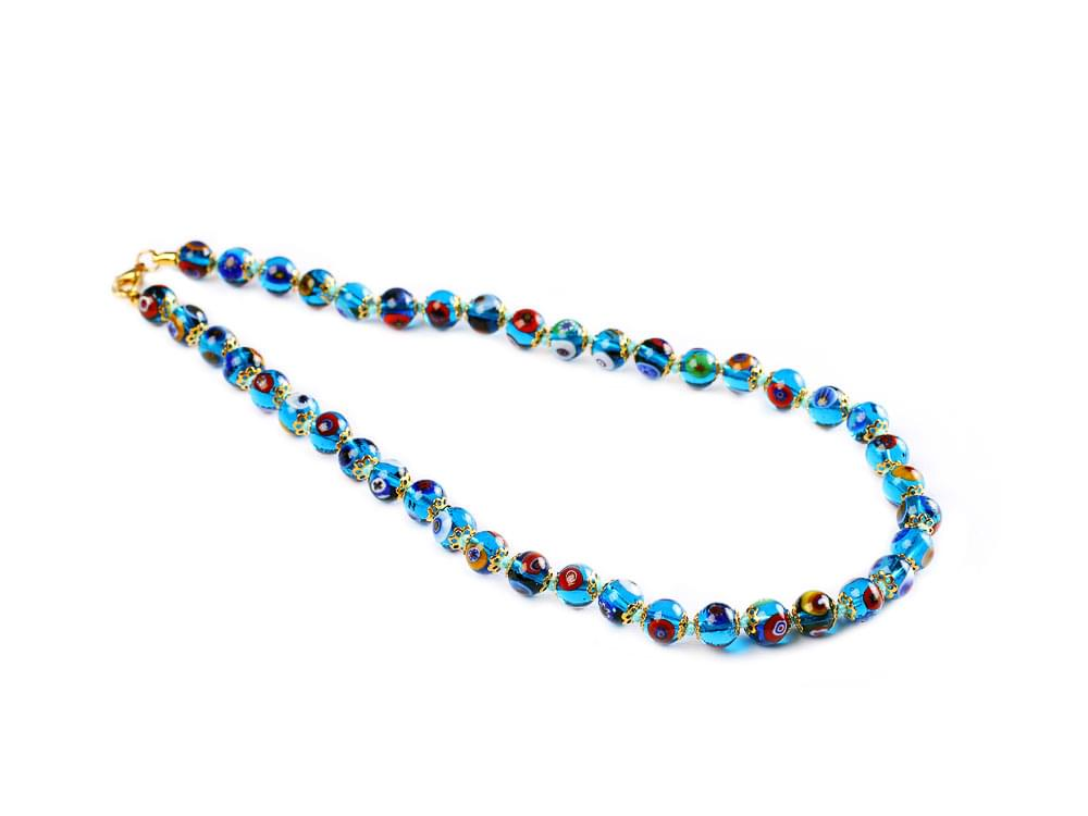 Murano mosaic beads in clear azure