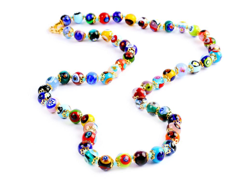 Murano mosaic necklace in strong colours