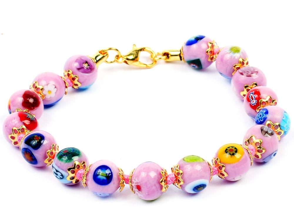 Showing detail of the Murano glass beads