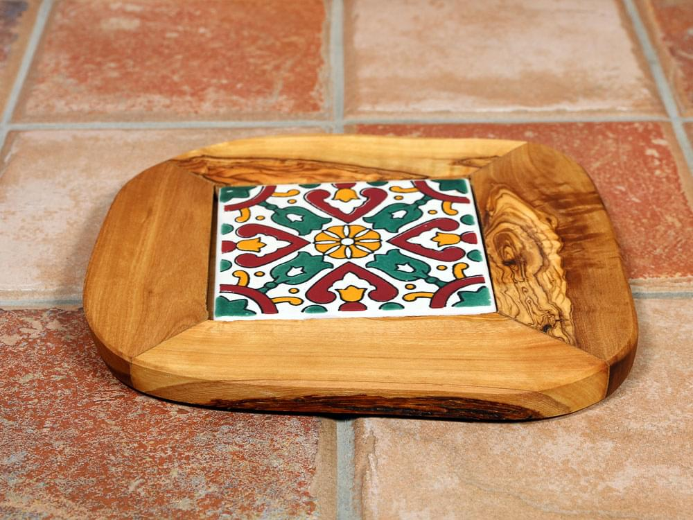Olive wood and ceramic trivet for the kitchen or table