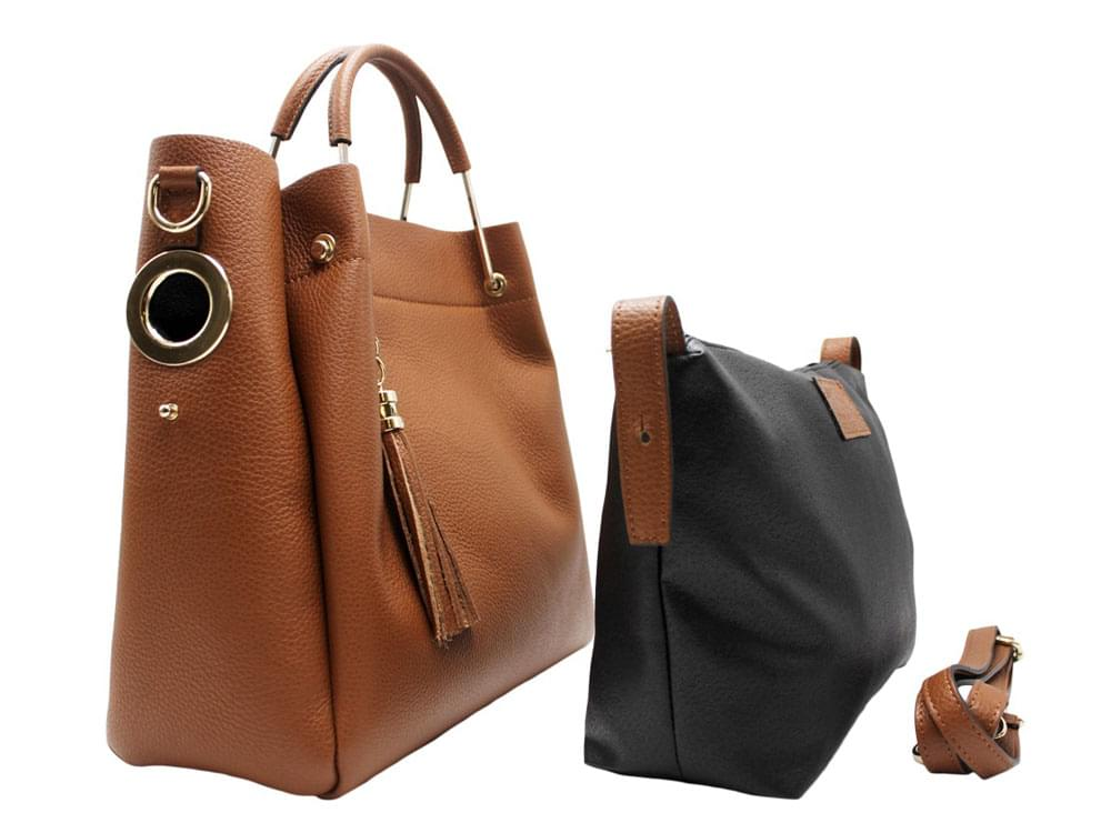 Ostia - innovative, rectangular shaped handbag - showing the handbag, the internal bag and the detachable shoulder strap
