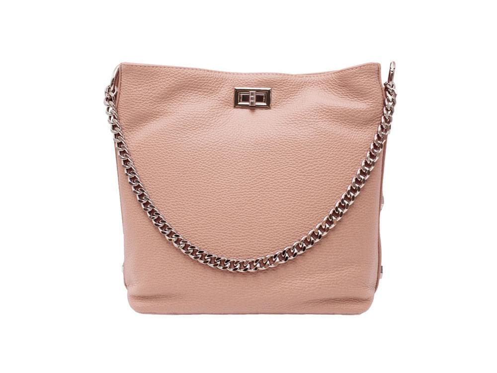 Este - soft leather shoulder bag with metal studs and chain - front view