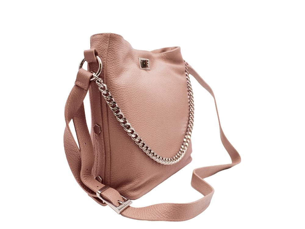 Este - soft leather shoulder bag with metal studs and chain