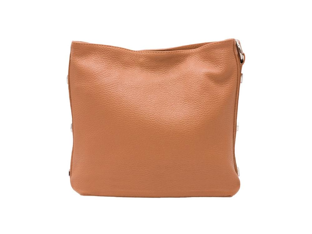 Este - soft leather shoulder bag with metal studs and chain - back view