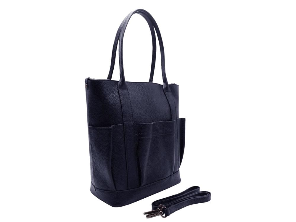 Bagheria - traditional shopper with modern flounce - with the additional, detachable shoulder strap