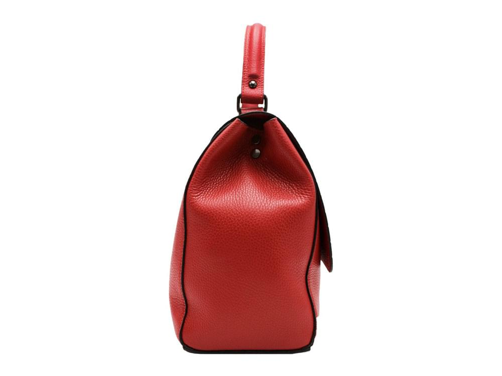 Taormina - high quality leather handbag with coconut effect front flap - side view