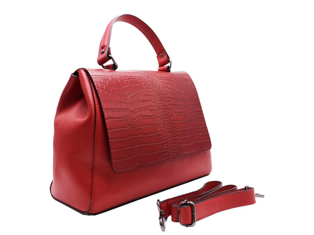 Taormina - high quality leather handbag with coconut effect front flap - with the detachable leather shoulder strap
