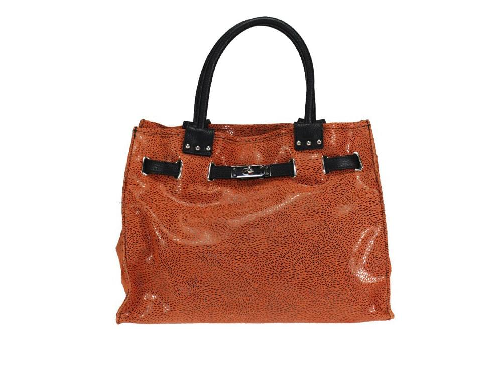 Catanzaro - fashionable, shiny, patterned calf leather bag - front view