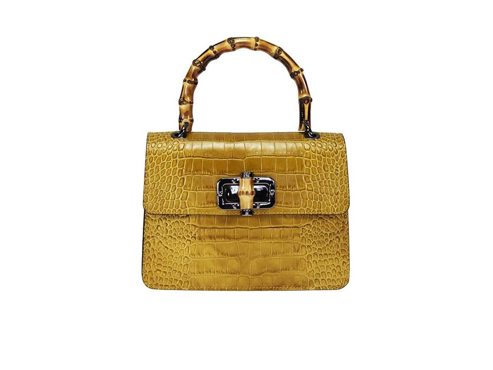 Treviso - small bag in reptile pattern leather with a bamboo handle
