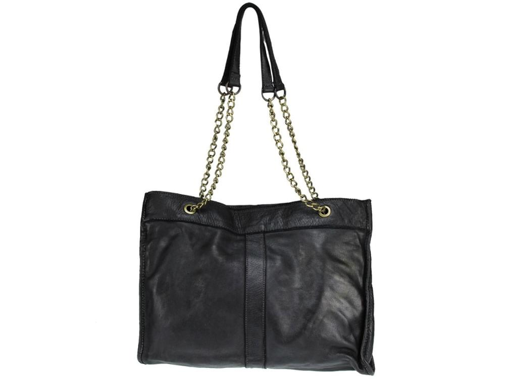 Melfi - large, slim, calf leather shoulder bag - front view