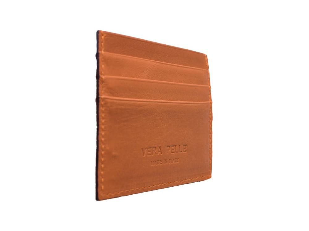 Leather card holder - side view