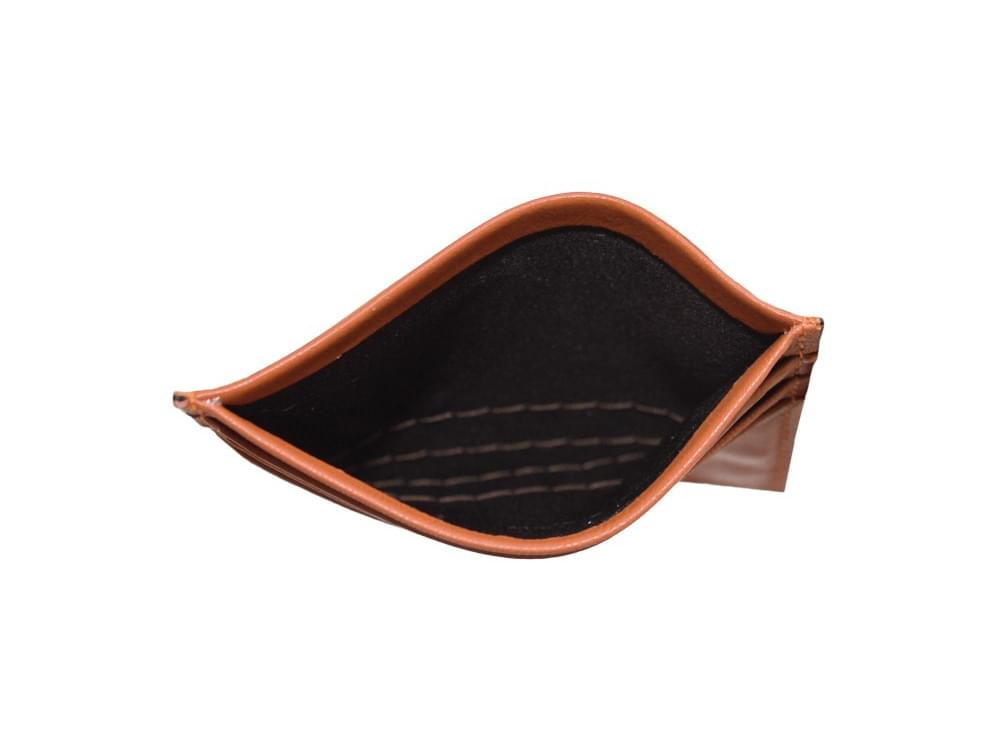 Leather card holder - showing inside the coin compartment