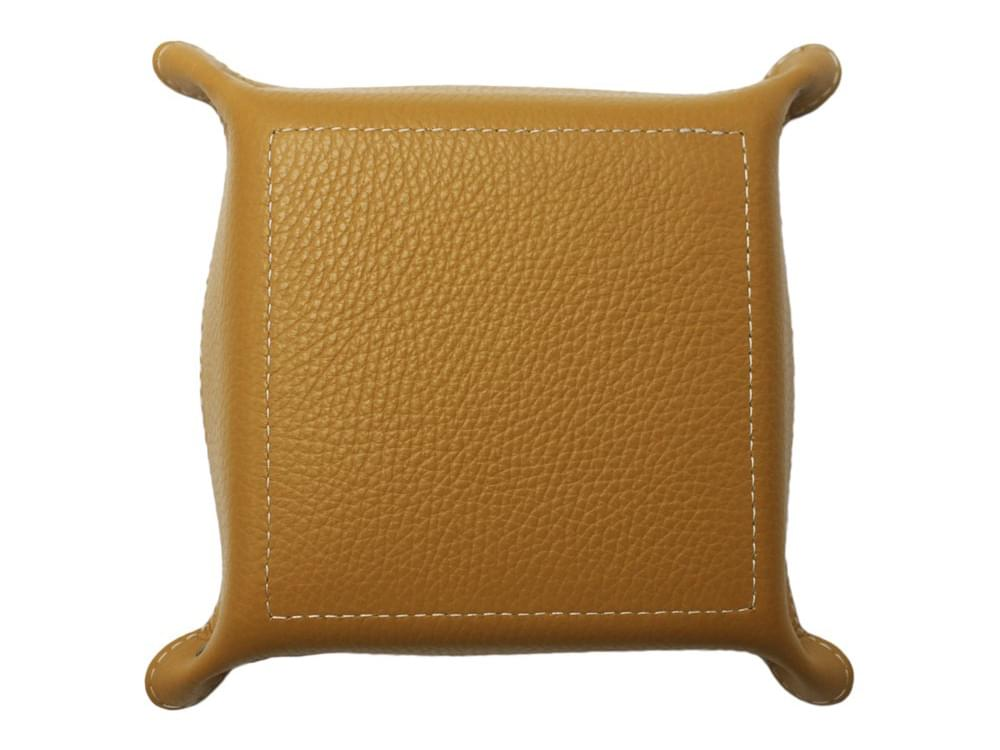 Square desk tray - leather tray for small objects - underneath