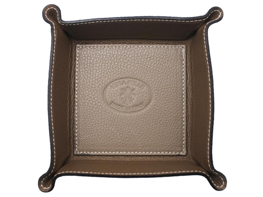 Square desk tray - leather tray for small objects - from above