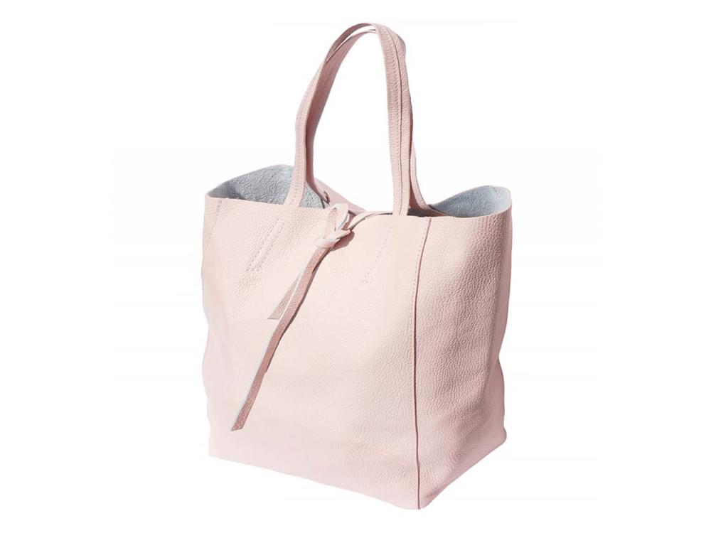 Bojana - shopping style bag in soft leather - side view, sides out