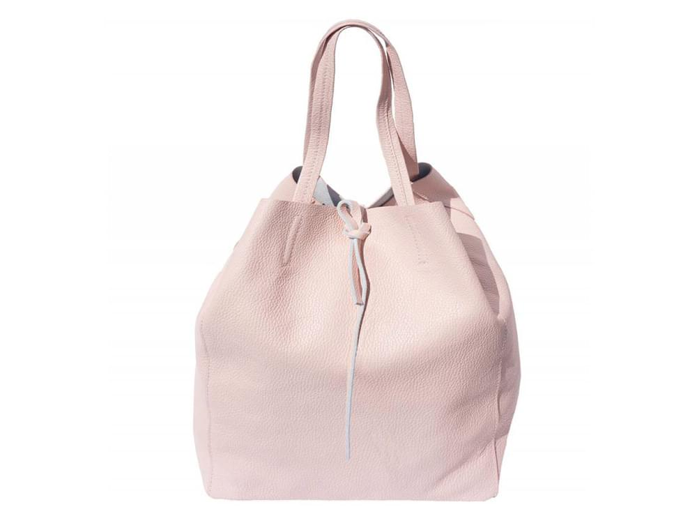 Bojana - shopping style bag in soft leather - front view, sides tucked in pyramid style