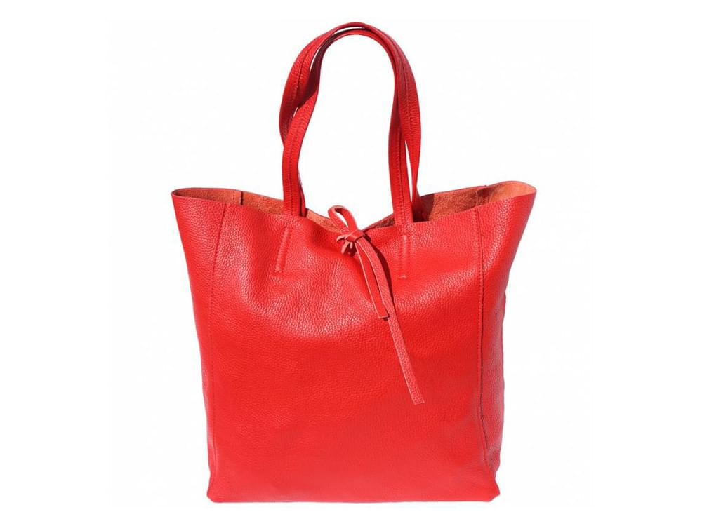Bojana - shopping style bag in soft leather - front view, sides out