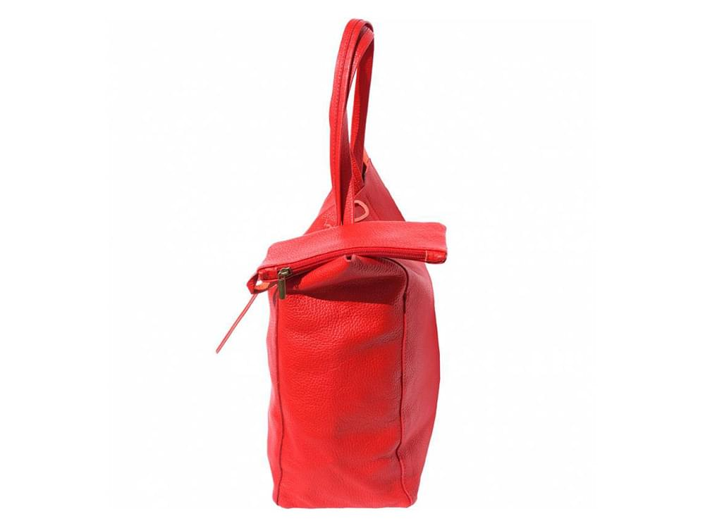 Bojana - shopping style bag in soft leather - side view showing the attached wallet