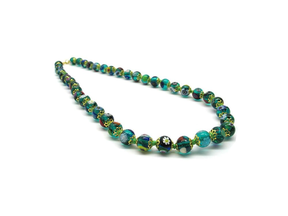 Murano mosaic necklace in shades of green