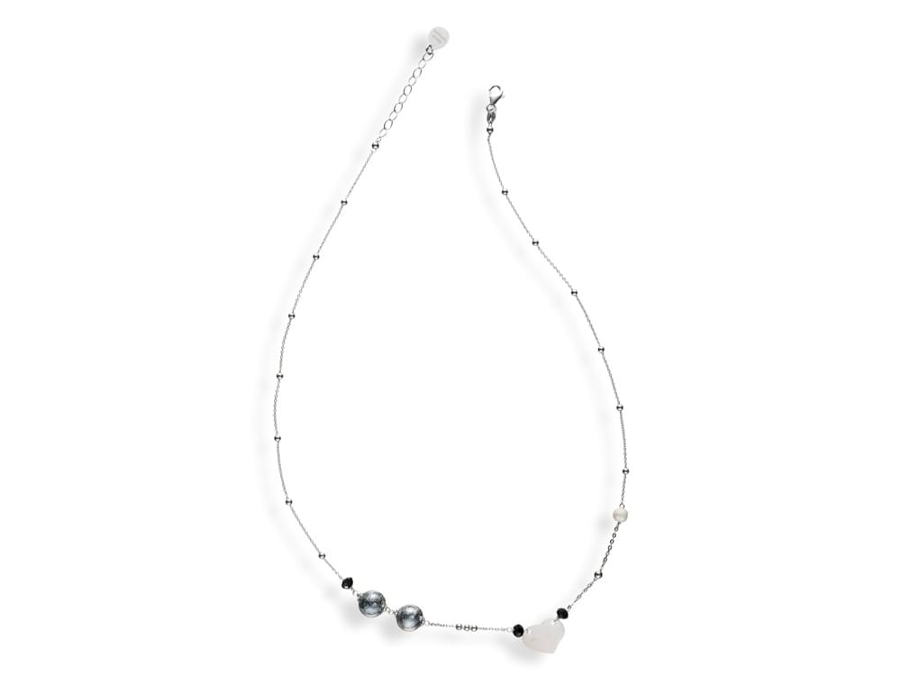 Iris Necklace - delicate Murano glass and pearls on sterling silver