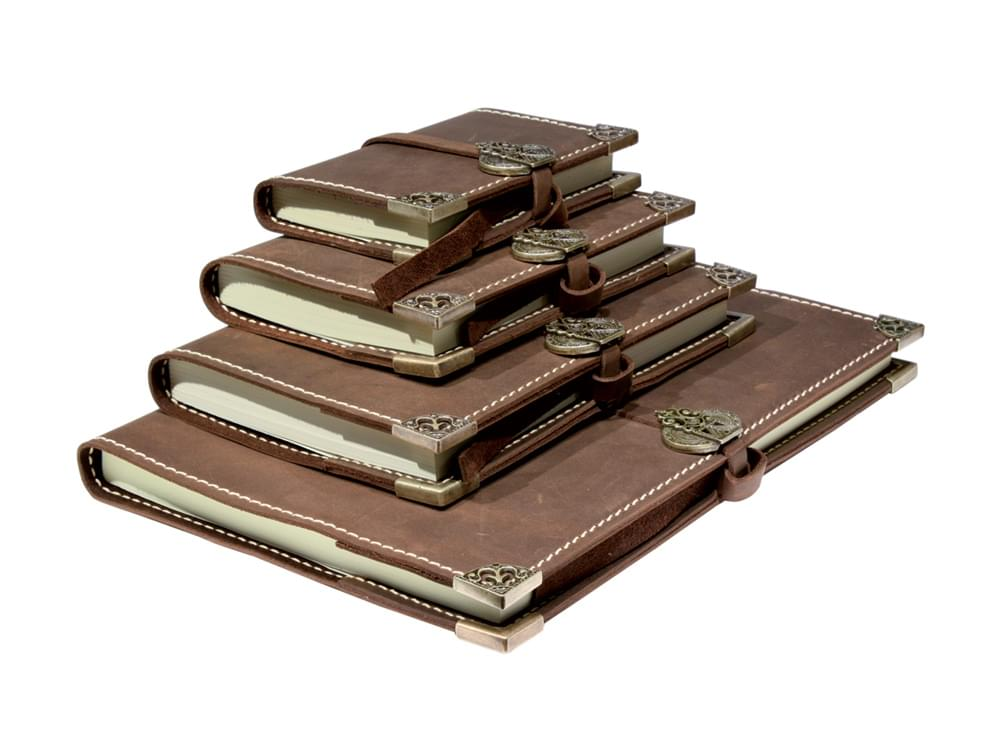 Leather Journal - handmade leather and bronze journals in four sizes