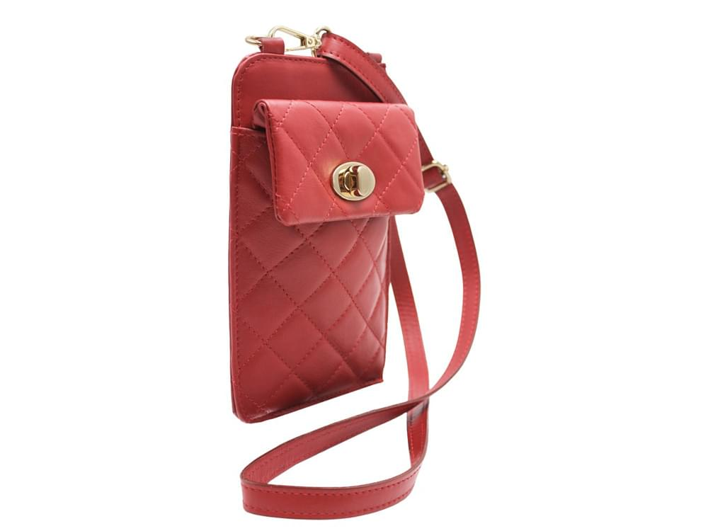 Phone Holder - quilted leather mobile phone holder - with the shoulder strap attached