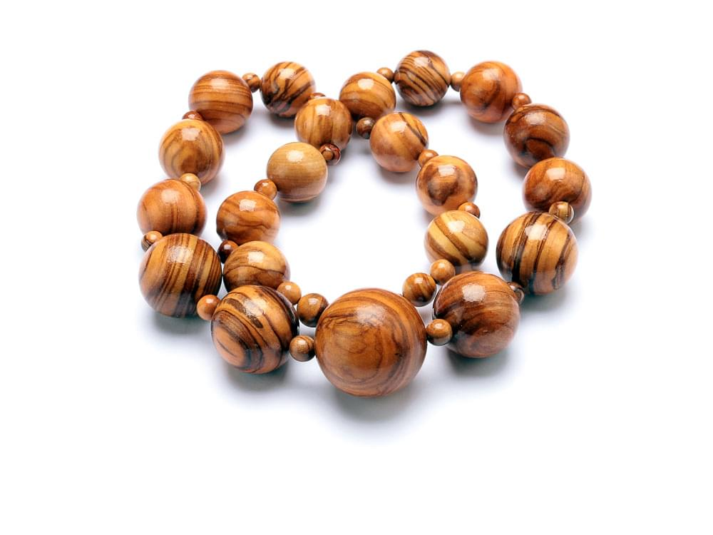 Beads Classic Necklace - Short - Olive Wood round bead necklace