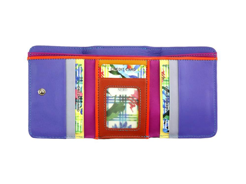 Sofia - colourful, optimal small wallet - back view opened up