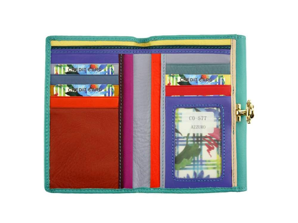 Maria - slim, colourful wallet with large capacity - front opened up