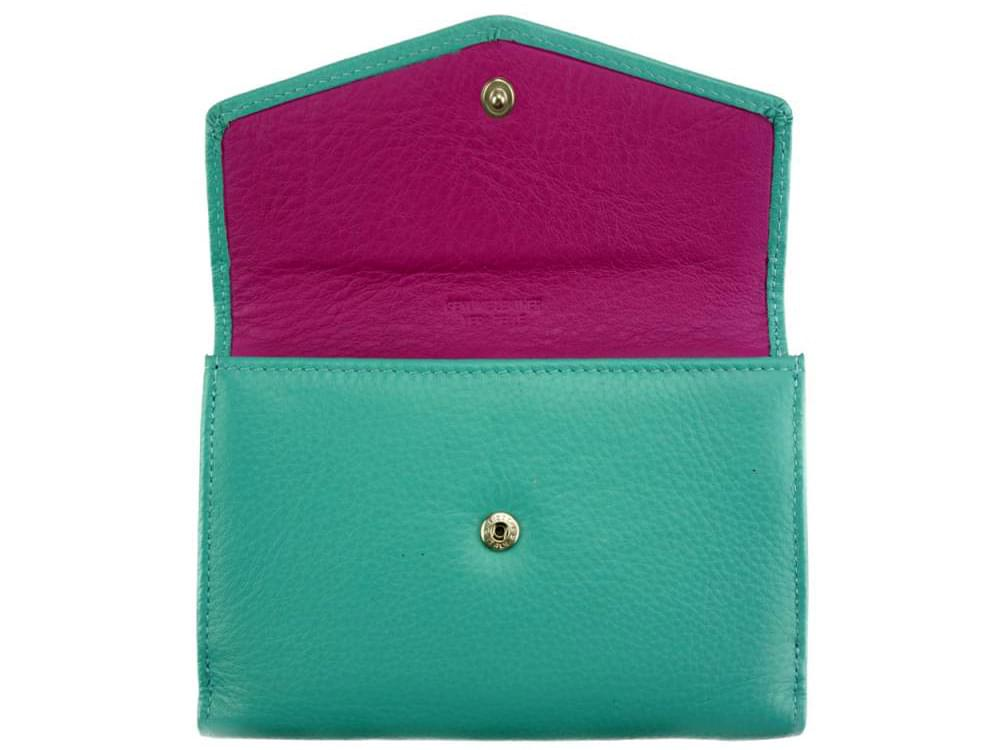 Maria - slim, colourful wallet with large capacity - back opened up
