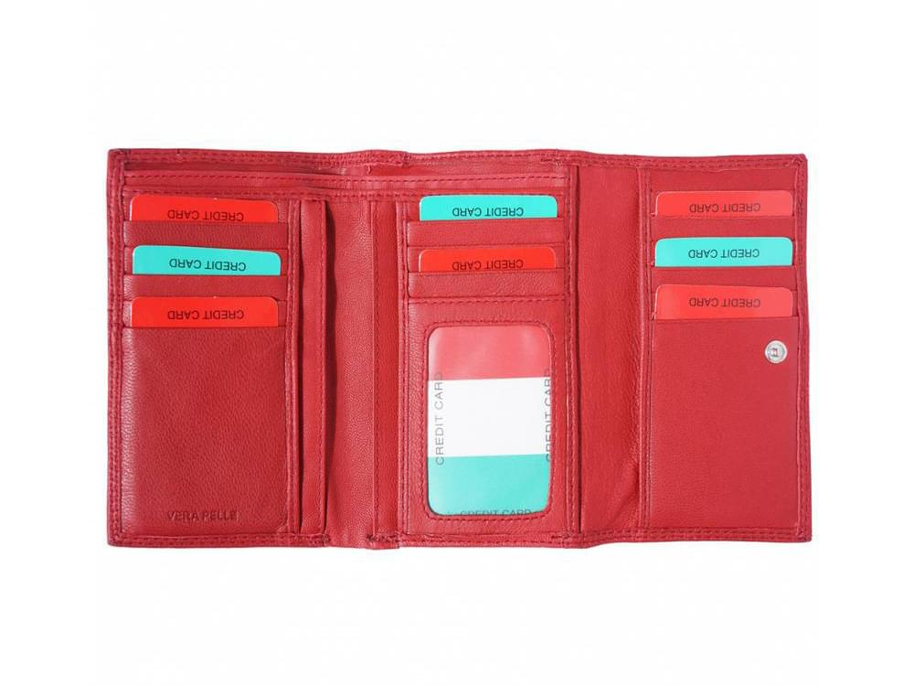 Cinzia - small, neat, spacious leather wallet - opened out