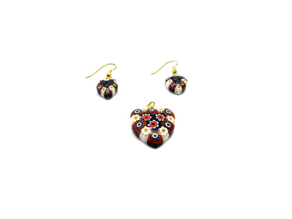 Daisychain - Murano glass heart and earrings set