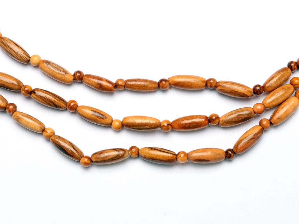 Oval bead 3 strand necklace - the beads