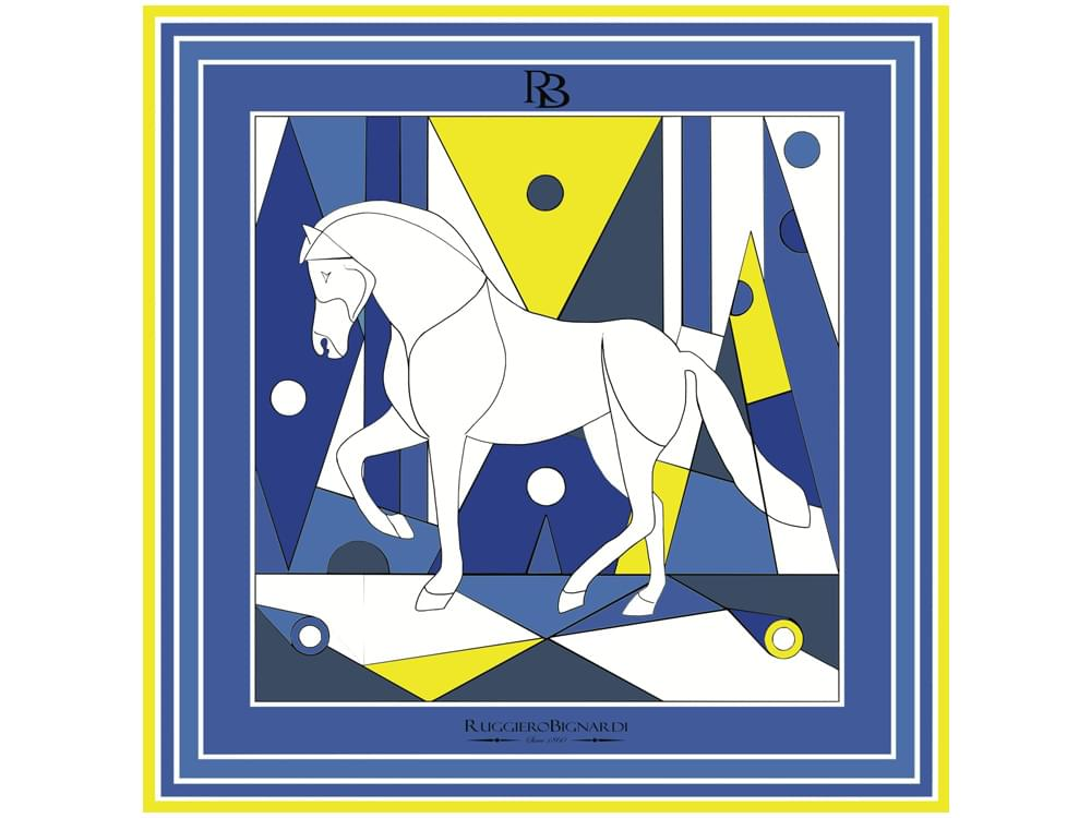 Nobility - Limited edition silk scarf with artistic horse design