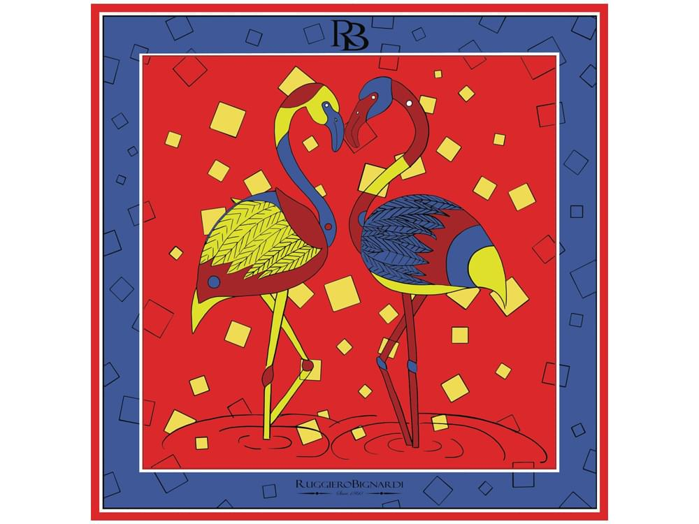 Love Dance - Limited edition silk scarf with artistic flamingo design