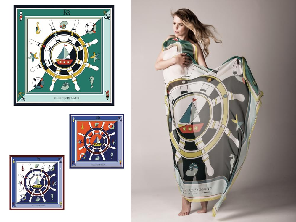 Timone - Large, limited edition silk scarf with artistic nautical design