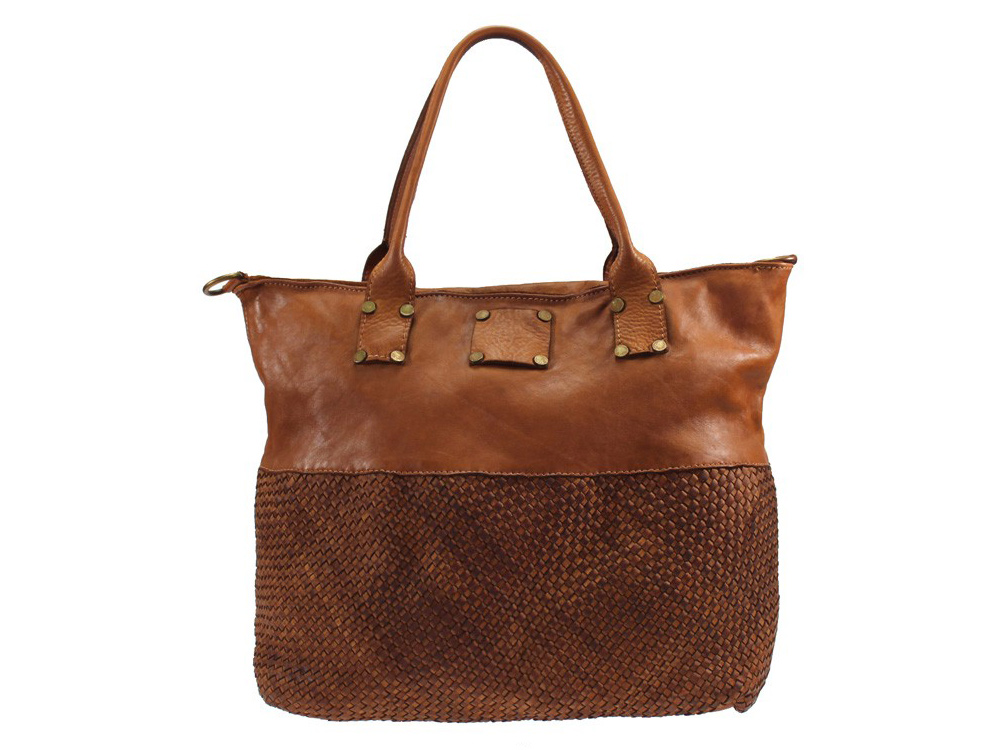 Taormina - designer style woven vintage leather handbag - front view