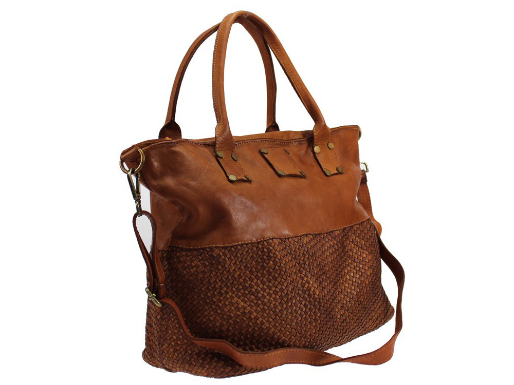 Taormina - designer style woven vintage leather handbag - with the detachable shoulder strap