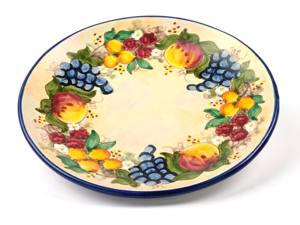 Ceramics Large Plate - Fruit Harvest - Blue
