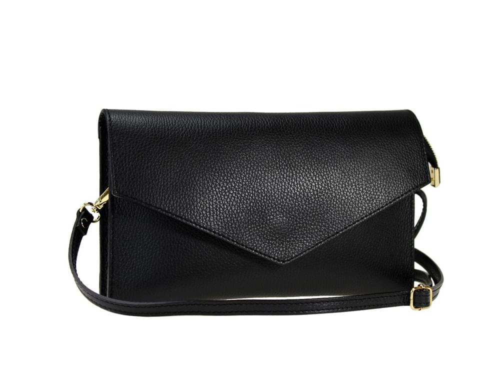 Biella - Italian leather clutch or shoulder bag - with the shoulder strap attached